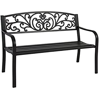 Genial Best Choice Products Steel Park Bench Porch Furniture For Outdoor, Garden,  Patio   Black