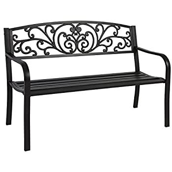 "Best Choice Products 50"" Patio Garden Bench Park Yard Outdoor Furniture Steel Frame Porch Chair Seat"