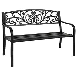Etonnant Best Choice Products 50u0026quot; Patio Garden Bench Park Yard Outdoor  Furniture Steel Frame Porch Chair