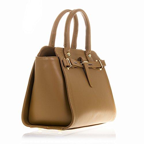 FIRENZE ARTEGIANI.Bolso de mujer piel auténtica.Bolso cuero genuino,Estructura rígido de piel Tamponato.Tacto suave y acabados de lujo. MADE IN ITALY. VERA PELLE ITALIANA. 34x23x16 cm. Color: CAMEL