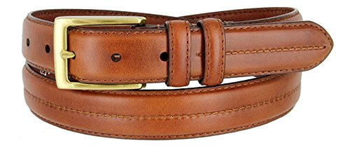 Hagora Mens 1 Color Stitch Detail Genuine Leather 1-1/8 Wide Metal Buckle Belt