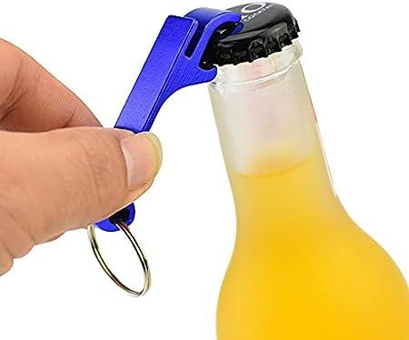 Mitening 8 llaveros abrebotellas de aluminio mini abridor de botellas llaves para llavero con garra para abrir cerveza, abrebotellas