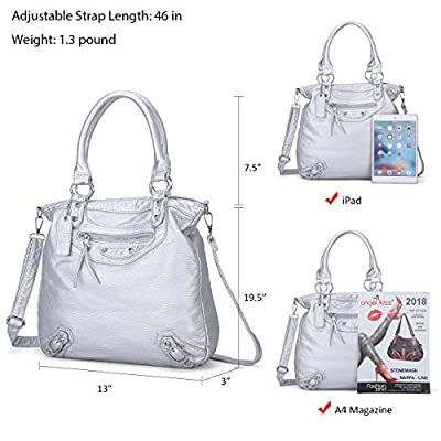 ZOCAI PU Leather Shoulder Bags Top Handle Handbag Purse Tote Messenger Bag Crossbody for Women