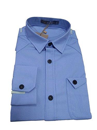 JZOEOEU Casual Slim Fit Shirt Cotton Long Sleeve Button Down Dress Shirt for Mens LightBlue Aisan 2xL