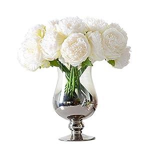 Hoomall 1 Bouquet 5 Heads Artificial Peony Silk Flower Leaf Home Bridal Wedding Party Festival Bar Decor 48