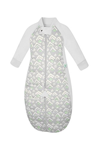 2.5 TOG Sleep Suit Bag (2-12 months) Grey Mountains. 100% organic cotton filling with cotton sleeves and fold over mitts. 2 in 1 wearable blanket sleeping bag converts to sleep suit with legs