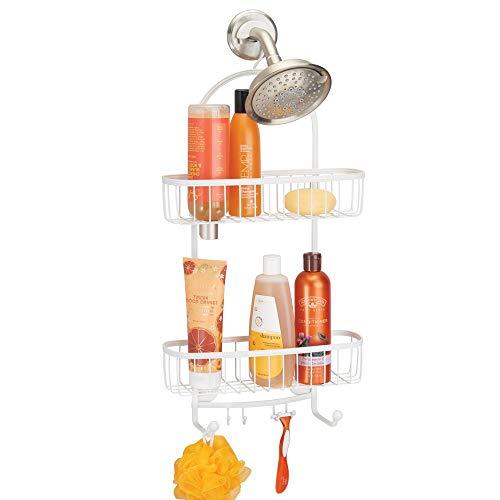 mDesign Vintage Metal Wire Bathroom Tub & Shower Caddy, Hanging Storage Organizer Center with 2 Wash Cloth Hooks and Baskets for Bathroom Shower Stalls, Bathtubs - Rust Resistant Steel - White