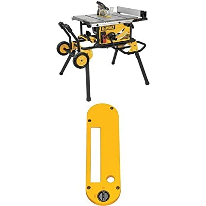 Dewalt Dwe7491rs 10 Inch Jobsite Table Saw With 32 1 2 Inch Rip Capacity And Rolling Stand W Dwe7402di Dado Throatplate