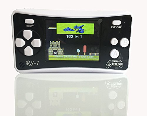 "E-MODS GAMING® RS-1 Retro 2.5"" LCD Handheld Portable Arcade Video Gaming System - 162 Retro Games Entertainment (BLACK)"