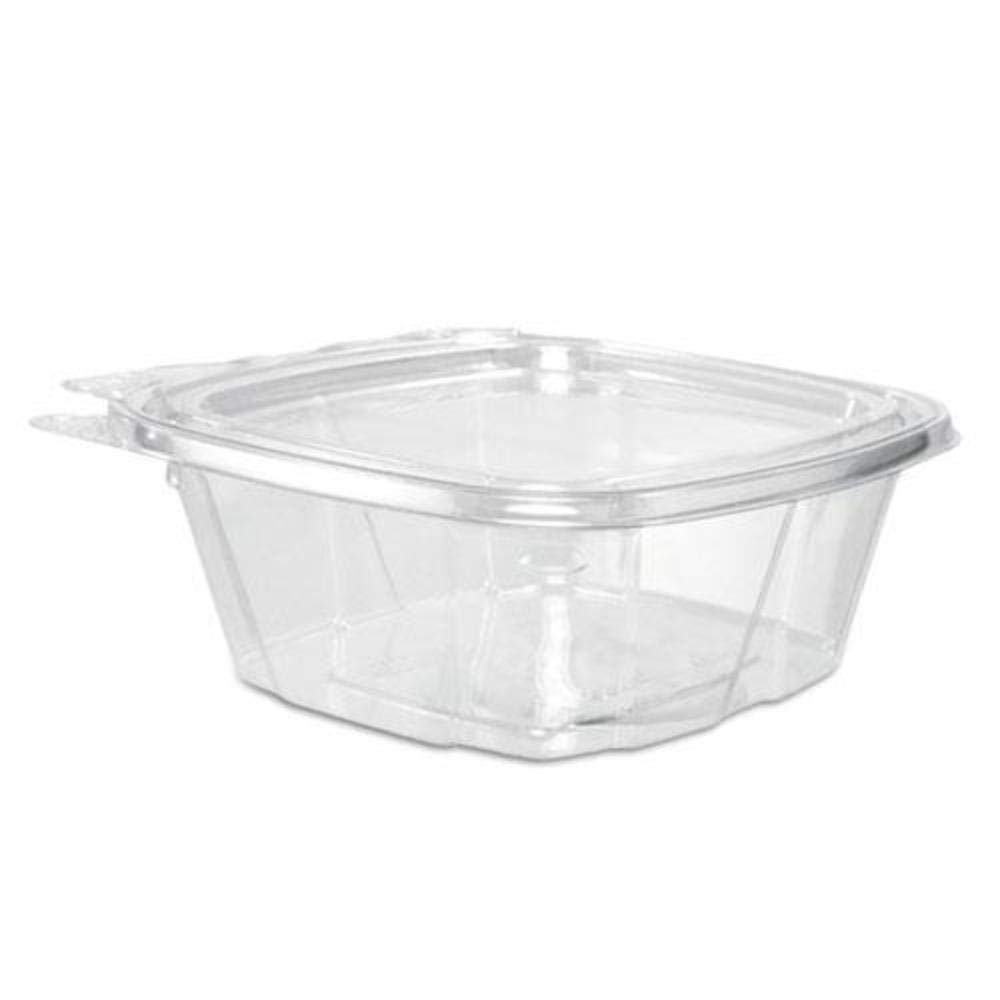 Dart CH12DEF 12 oz Tamper-Resistant Clear Hinged Container with Flat Lid (Case of 200)