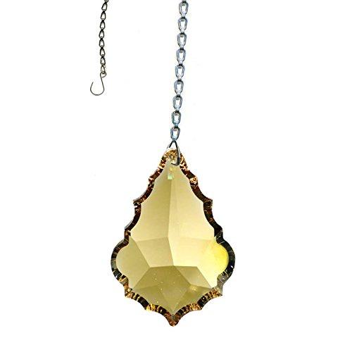 Swarovski crystal Sun Catcher, 2 Inches Golden Teak Pendaloque Crystal with Amazing Shine & Rainbow Includes Chain & Suction - Crystal Teak Swarovski