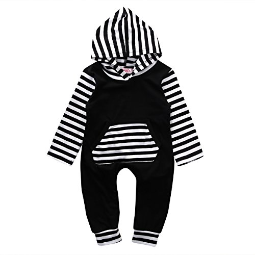 Newborn Baby Girls Boys Stripe Hooded Romper Onesie Jumpsuit (70/ 0-6 Months, Black) (Hooded Romper Newborn compare prices)