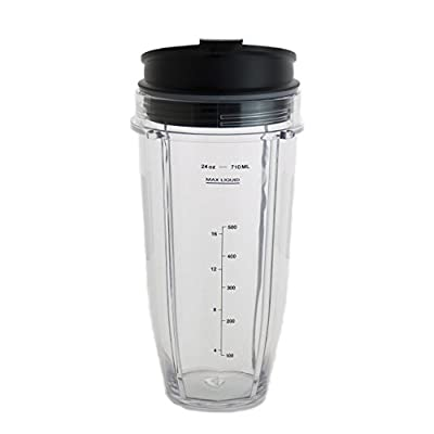 24 oz Cup For Nutri Ninja Blender w/ Leak Proof Sip and Seal Lid. Dishwasher Safe & BPA-free Ninja Replacement Cup Fits All Ninja with Auto iQ Systems.