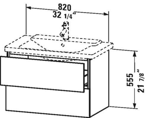 Unit Vanity Duravit (Duravit L-Cube vanity unit f. P3, 2 drawers 555x820x481mm, Brushed Oak)