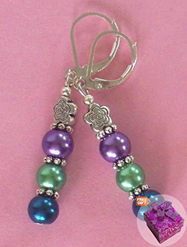 Glass Pearl Purple Green Lavender Earring Sp Leverback Artisan Earrings For Women Set + Gift Box For Free