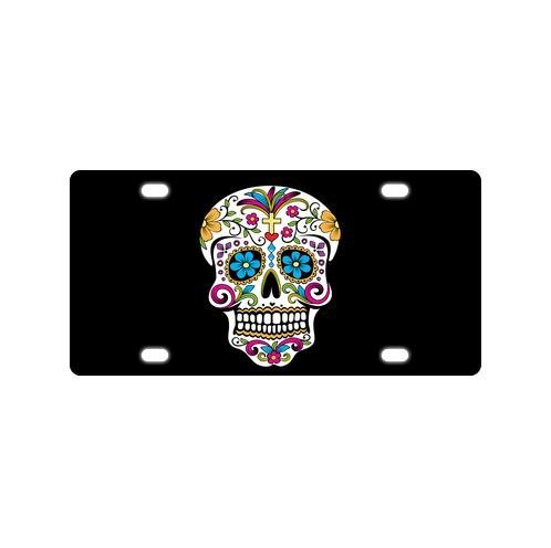 - Decorative Day Of The Dead Sugar Skull Design Durable And Strong Aluminum Car License Plate 12