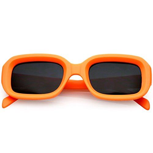 sunglassLA - Chunky Matte Finish Rectangle Sunglasses Neutral Colored Lens 50mm (Orange/Smoke) from sunglassLA