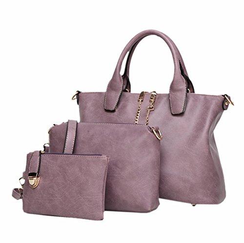 Mujer Nuevo Estilo PU Europa Y América Manera Sistema De Tres Pedazos Bolso Bangalor Bolso De Hombro Inclinado Solo Color Bolso Purple