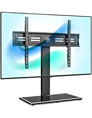 FITUEYES Universal TV Stand for 50-80 inch TV, Swivel 100 Degrees 4 Heights Adjustable with Cable Management Holds up to 65KG TT107003GB
