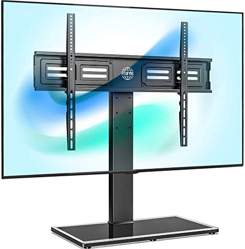 FITUEYES Universal TV Stand/Base Swivel Tabletop TV Stand with Mount for 50 to 80 inch Flat Screen TV 100 Degree Swivel, 4 Level Height Adjustable,Tempered Glass Base,Holds up to 143lbs Screens
