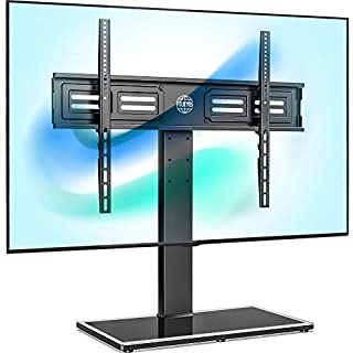 FITUEYES Universal TV Stand/Base Swivel Tabletop TV Stand with Mount for 50 to 85 inch Flat Screen TV 100 Degree Swivel, 4 Level Height Adjustable,Tempered Glass Base,Holds up to 143 lbs Screens.