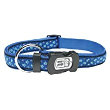 Dogit Style Footloose Small Adjustable Nylon Collar with Plastic Snap, 1/2-Inch by 10-Inch to 16-Inch, Blue on Blue Nylon