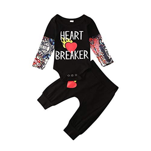 Rainnbowing Infant Baby Boys 2 Piece Clothes Sets Heart Breaker Long Sleeve Tattoo Print Romper and Long Pants Outfit…