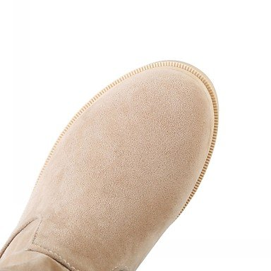 Heels 4in Comfort 1 3 Gll amp; Spring Ruby Novelty 1in amp;xuezi Leatherette Casual beige Heel Women's Career Low Bowknot Winter Beige Bootie Black Office qEERtB