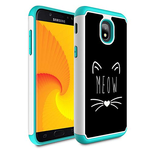 Galaxy J7 Refine/J7 2018/J7 Star/J7 Top/J7 Aura/J7 Aero/J7 Crown/J7 Eon Case,Skyfree Heavy Duty Dual Layer Bumper Protective Phone Case for Samsung Galaxy J7 2018,Black Kitty cat Meow