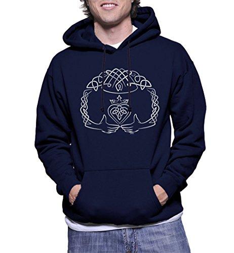 - HAASE UNLIMITED Men's Celtic Claddagh Hoodie Sweatshirt (Navy, X-Large)