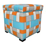 Sole Designs Abstract Square Design Tami Collection Blue/Orange Upholstered Cubed Lift Top Storage Ottoman