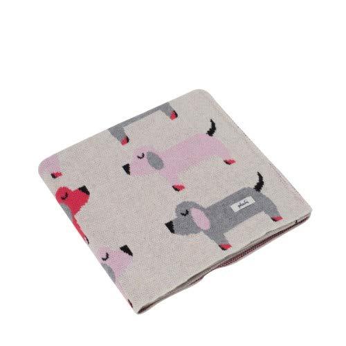 Pluchi Scottie Dog Pink 100% Cotton Knitted Supersoft Nursery Baby Blanket Throw 0-2years 32x40'' (80x100cm) Stroller Receiving Blanket Oeko-Tex Certified Machine Washable