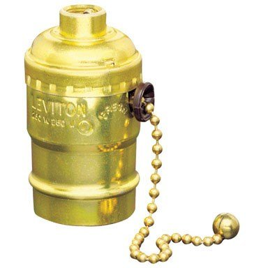 Leviton 7092 Electrolier 2-Circuit 3-Way Lamp Holder, 250 W, Incandescent, Medium, Porcelain Body, Aluminum Shell, Brass