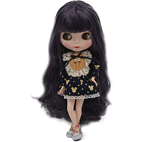 1/6 BJD Doll is Similar to Neo Blythe, 4-Color Changing Eyes Matte Face and Ball Jointed Body Dolls, 12 Inch Customized Dolls Can Changed Makeup and Dress DIY, Nude Doll Sold Exclude Clothes (SNO.35)