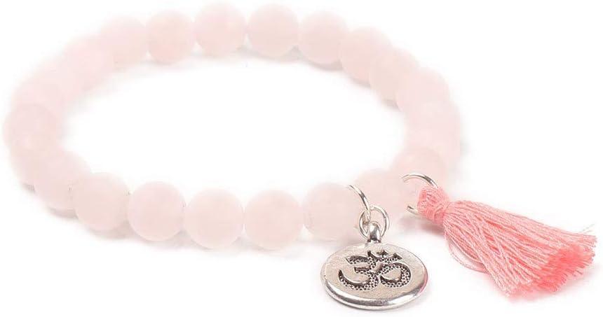 BIJOUX Pulsera de color rosa claro Charm Pulsera de cuentas de piedra natural con cuentas de borla Brazaletes Mujeres Oración de yoga Pulseras budistas Accesorios de ropa personalizados Dé a sus amig