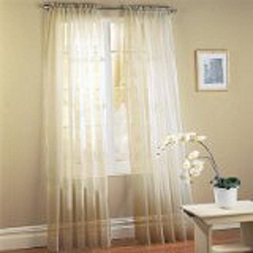 """Onestopshop's Ivory Beige Cream Off White Voile Sheer Panel Drape Curtain for Your Window Fully Stitched and Hemmed 55x84"""""""