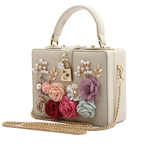 LETODE Women Flower Clutches Evening Bags For Wedding Party Handbag Purse (Apricot)