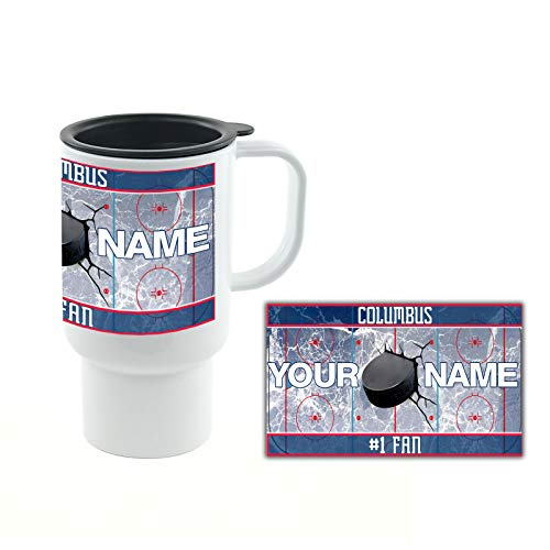 BRGiftShop Personalized Custom Name Hockey Team Columbus 18oz Travel Mug with Lid ()