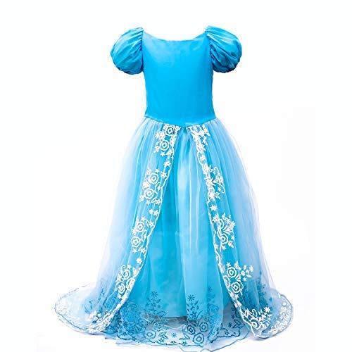 - Lee Little Angel Cinderella Lace Dress Princess Skirt (110, Blue)