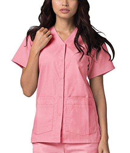 Adar Universal Double Pocket Snap Front Top (Available in 39 colors) - 604 - Dusty Rose - S