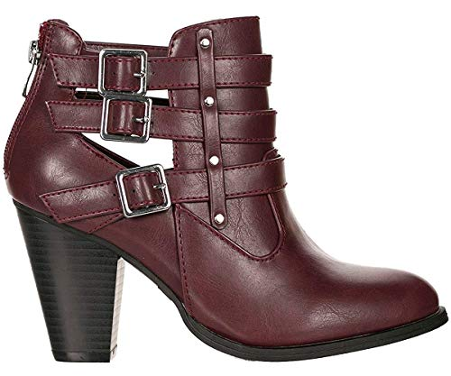 (Forever Women's Buckle Strap Block Heel Ankle Booties Wine Faux Leather 6.5 M)