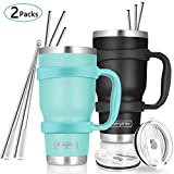 30oz Tumbler, 2 Packs Stainless Steel Double Wall Vacuum Insulated Tumbler Travel Mug With 10Pcs Reusable Straw, 2Pcs Slider Lid, Cleaning Brush, 2Pcs Handles (Black + Green)