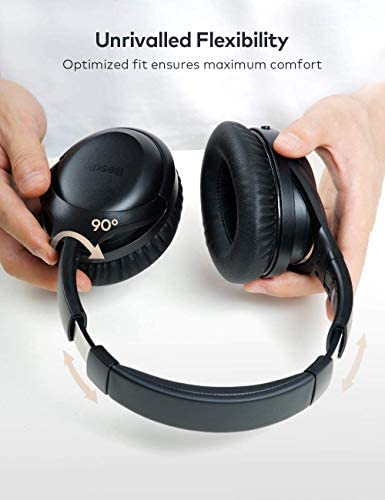 Active Noise Cancelling Headphones, Wireless Headphones Bluetooth Headphones with Mic, BesDio Over Ear Headphones with Quick Charge, Bluetooth 5.0 Deep Bass, 30H Playtime for Online Class Home Work PC 415VPDXv1NL
