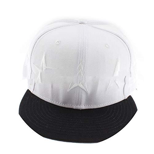 野球帽 ヒップホップフラットハットカスタムメイドの立体的な帽子,白色,M(56-58cm)