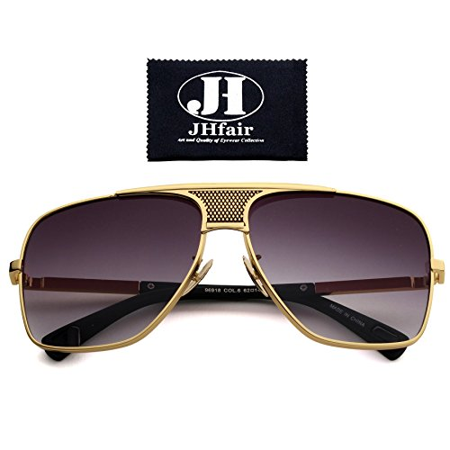 JHfair Brand Designer Large Square Aviator Fashion Mens - Designer Shades On Sale