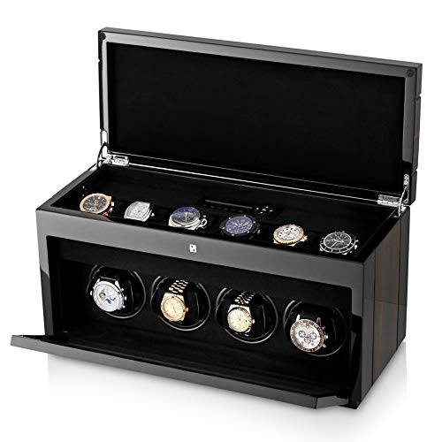 (4+6 Watch Winder for 4 Women's and Men's Watches with 6 Storage Slots, LED Backlight and LCD Display (Macassar))