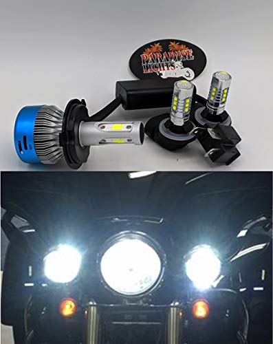 2006 and Up 3 Piece Super Bright Paradise Lights US Ship Harley Electra Glide, Ultra Classic, Heritage, Softail, FLH, FLHX, FLHRS, FLHTC, FLHTCU LED Complete 3 Bulb Set (2013 Harley Davidson Electra Glide Ultra Classic)