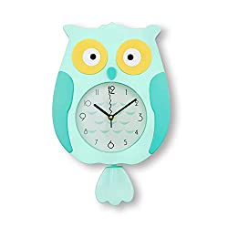 ufengke Blue Owl Bird Pendulum Wall Clock with Swinging Tail Large Children Wall Clocks for Bedroom, Creative Gift for Kids, Size:40x25cm
