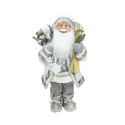 "picture of 19"" Luxurious Snowy Standing Santa Claus Christmas Figure with Skis and Lantern"