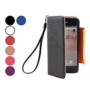 GJY sold out Litchi Grain PU Leather Case with Hang Rope for iPhone 5/5S (Assorted Colors) , Rose